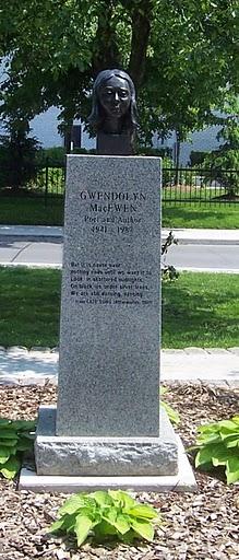 Bust and pedestal of Gwendolyn MacEwen