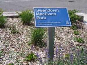 Sign, Gwendolyn MacEwen Park, Toronto, Ontario