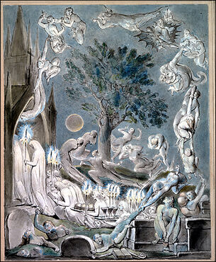 William Blake - The Gambols of Ghosts According with their Affections Previous to the Final Judgment