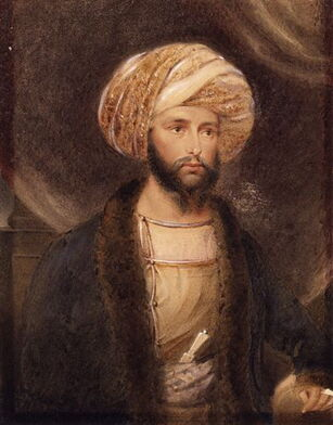 General Sir James Abbott dressed as an Indian noble by B. Baldwin 1841