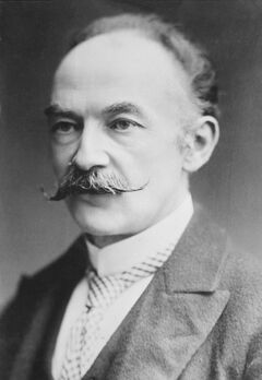 A black and white photograph of Hardy from his late middle age. He is wearing smart, formal clothes, such as a stiff collar and tie. He has a well-tended handlebar moustache