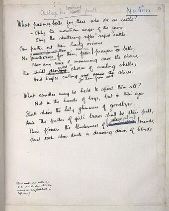 Anthem For Doomed Youth Wilfred Owen Pennys Poetry