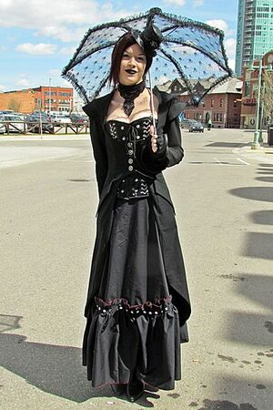 Steampunk - woman in black dress