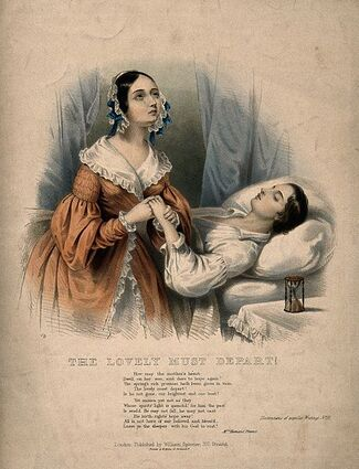 A young man lies dying, a woman weeps as she holds his hand, Wellcome V0015178