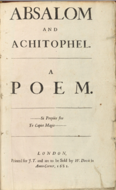 Absalom & Achitophel, title page