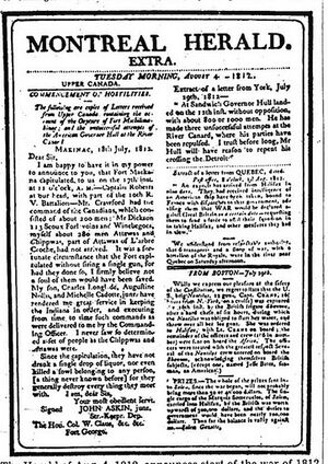 Montreal Herald extra, August 4, 1812.