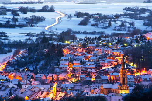 City lights of Calw in snow