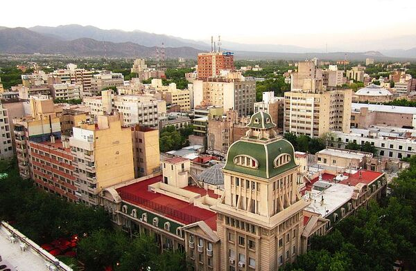 A beautiful landscape of a Mendoza City's part seen from the highest of Gómez building.