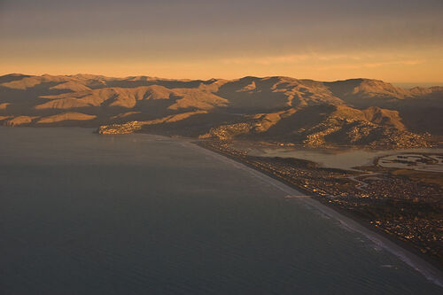 New Brighton and Port Hills, aerial over Christchurch