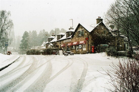 Shops in snow