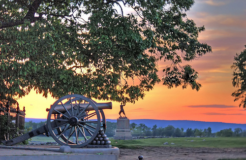 Sunset over cannons