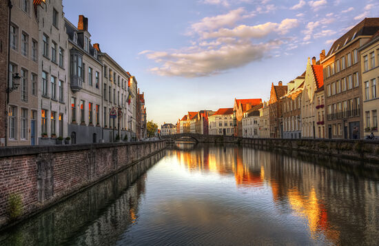 Gorgeous Bruges with colorful reflections in canal