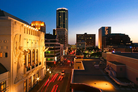 Bass Hall and downtown Fort Worth