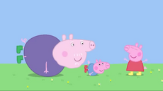 Peppa pretending to be a butterfly, with the others pretending to be worms