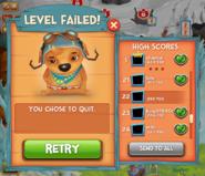 Level failed! press button