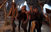 Tyson, Clarisse La Rue, Grover Underwood, Annabeth Chase, Percy Jackson et la Toison d'Or dans l'antre de Polyphème