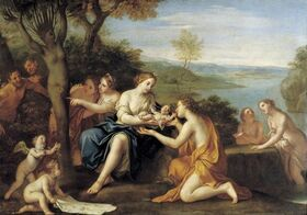 'Birth of Adonis', oil on copper painting by Marcantonio Franceschini, c. 1685-90, Staatliche Kunstsammlungen, Dresden