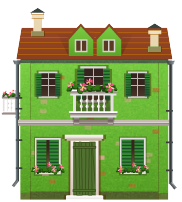 Green house with balcony