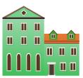 Green venetian building decal