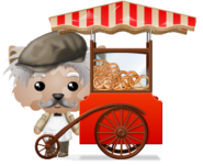Animated Pretzel Vendor