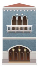 Blue venetian building decal