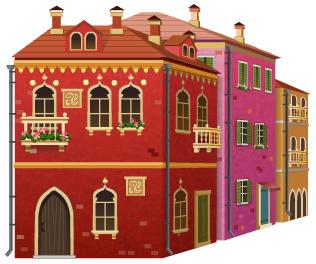 Angled venetian buildings decal