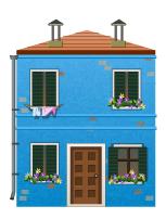 Blue venetian house decal