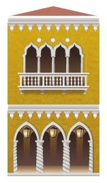 Yellow venetian building decal