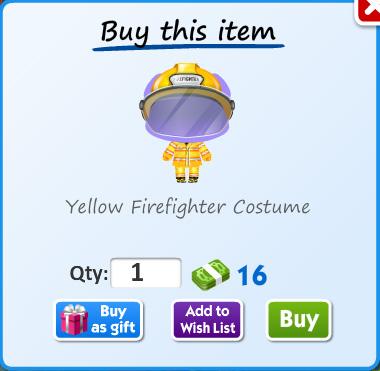 Yellow firefighter costume