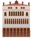 White venetian building decal