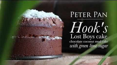 Peter Pan's Hook cake (coconut chocolate mud cake with green lime sugar) Food in Literature