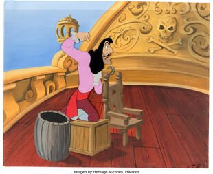 Peter Pan Captain Hook Production Cel and Painted Background