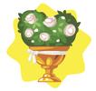 Golden wedding flower pot