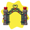 Cast iron and stone heart gate