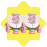 Pink and white roller skates