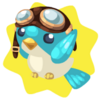 Flying bird with goggles