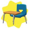 Blue school seat