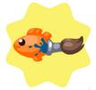 Orange brush fish