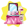 Pink wig dye table