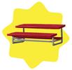 Red stadium bench