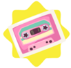 Pink cassette tape wall sticker