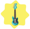 Shiny blue rock guitar