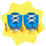 Blue and yellow roller skates