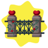 Cast iron and stone heart fence