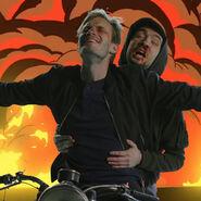 Pewd and Jack on Bikes