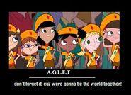 Fireside girls (Katie-Adison-Isabella-Holly-Ginger-Gretchen)