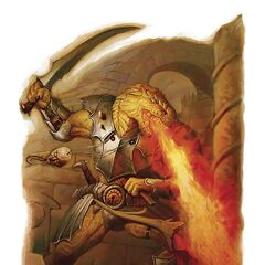 A Dragonborn using his fire breath.