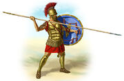 800px-Ancient Greece hoplite with his hoplon and dory