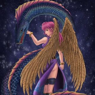 Aasimar summoner with her Eidolon.