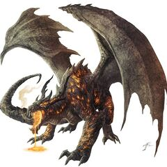 Lava dragon, or is it magma dragon?  A primordial that sponsors one of the primitive clans.